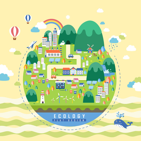 green city: Ecology concept design, environmental elements with green city Illustration
