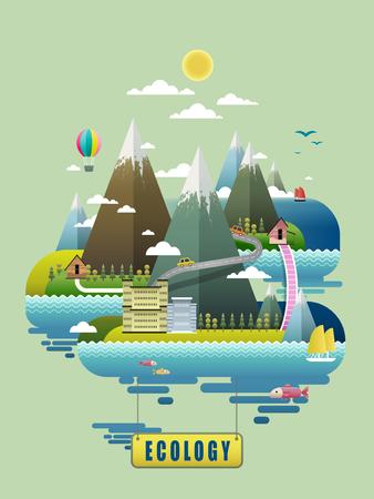 ciclo del agua: Ecología concepto de diseño, los elementos ambientales con las montañas