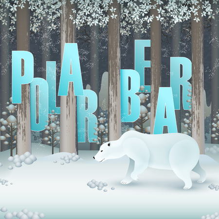 Ecology concept design, polar bear in snowland