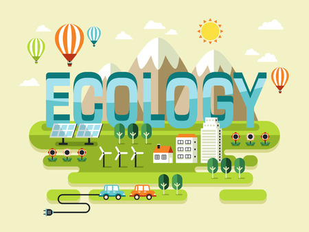 eco slogan: Ecology concept design, beautiful scenery in flat style Illustration