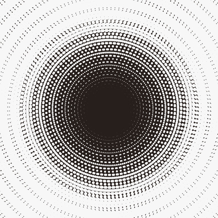 Mysterious pattern design with radiation circular dotted halftone element