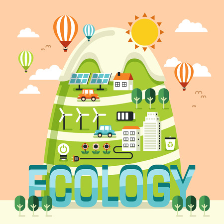 preserve: Ecology concept design, beautiful scenery in flat style Illustration