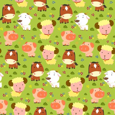 farmland: Animals seamless pattern, adorable farm animals live in farmland