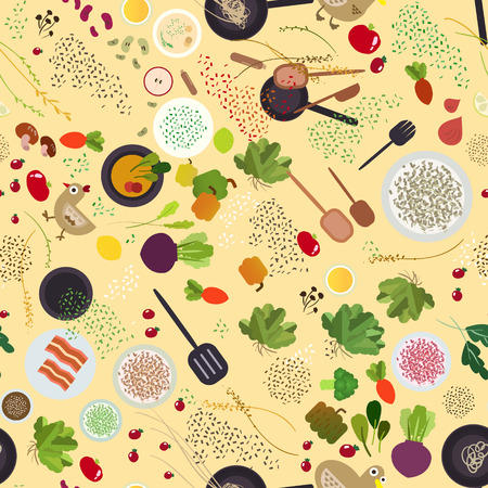 Food ingredient seamless design, attractive spicies and materials for cook