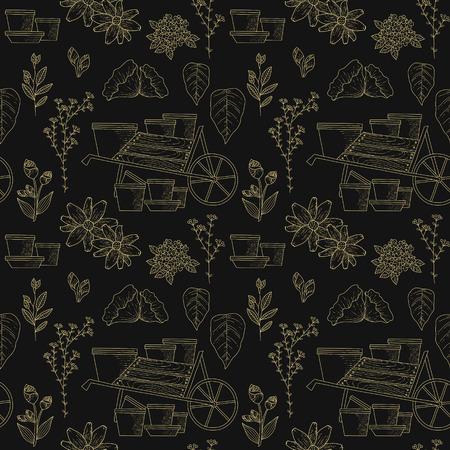 Elegant gardening seamless pattern, exquisite golden linear style 版權商用圖片 - 61824987