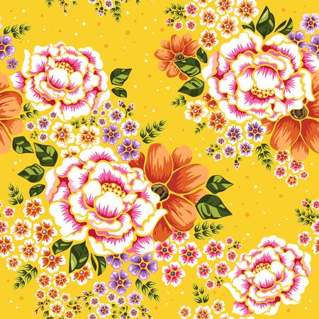 花柄シームレス、黄色の背景の上の伝統的な客家フラワー デザイン