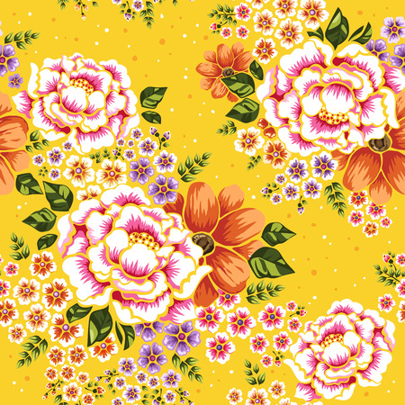 Floral seamless pattern, traditional hakka flower design over yellow background