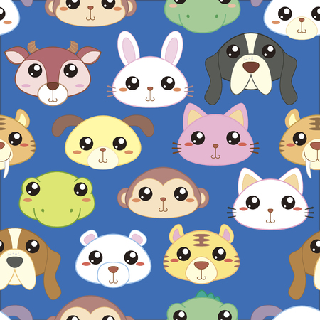 animal heads: Animal heads seamless pattern, adorable animals head in cartoon style