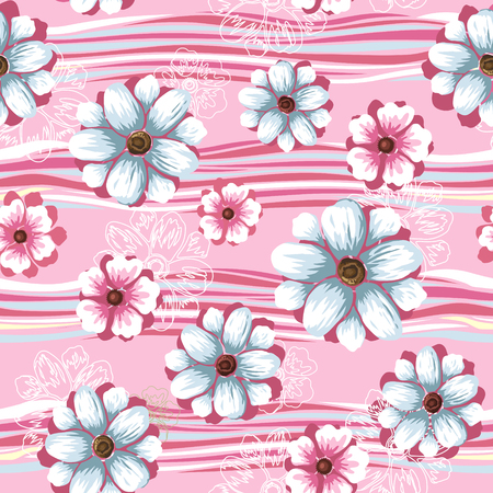 Floral seamless pattern, elegant flower design over pink background