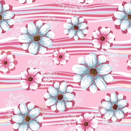 Floral sin patrón, elegante diseño de flores sobre fondo de color rosa Ilustración de vector