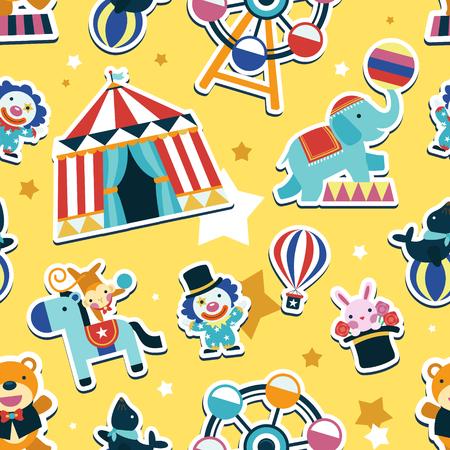 Modelo inconsútil del circo, animales y elementos de entretenimiento