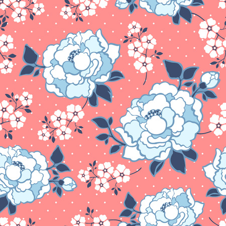 pink flower background: Floral seamless pattern, graceful peony flower design over pink background