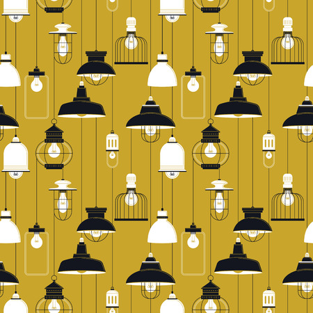 ceiling lamp: Ceiling lamp seamless pattern, diverse lamps in retro style