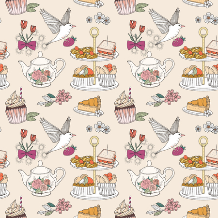 Afternoon tea seamless pattern, exquisite snacks and tea collection
