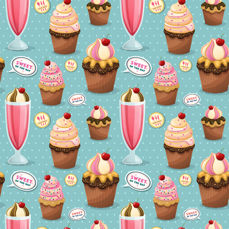 milk shake: Sweets seamless pattern, adorable snacks collection with cupcake and milk shake