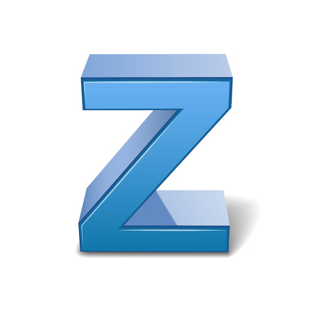 3d image: 3D image blue letter Z isolated on white background