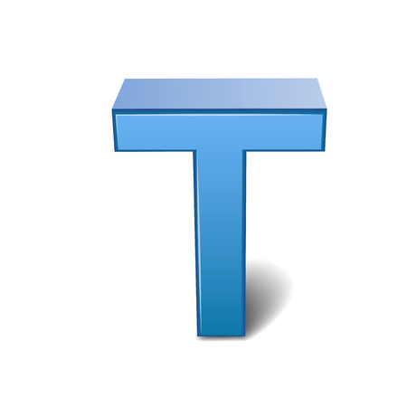 3d image: 3D image blue letter T isolated on white background
