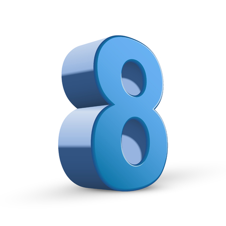 number 8: 3D image shiny blue number 8 isolated on white background