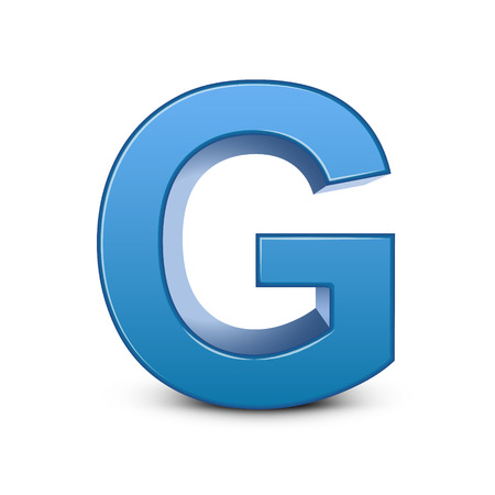 3d image: 3D image blue letter G isolated on white background