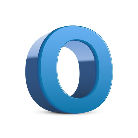 3d image: 3D image blue letter O isolated on white background