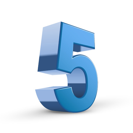 number 5: 3D image shiny blue number 5 isolated on white background Illustration