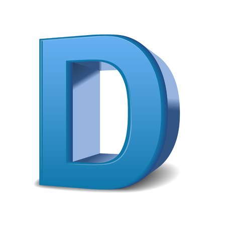 single word: 3D image blue letter D isolated on white background
