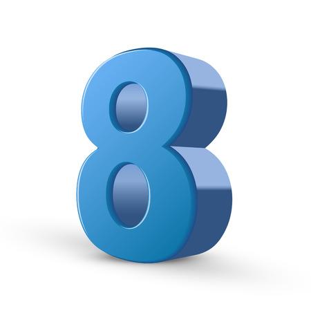 shiny: 3D image shiny blue number 8 isolated on white background