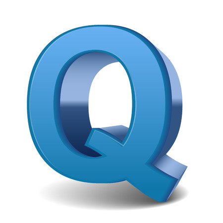 3d image: 3D image blue letter Q isolated on white background