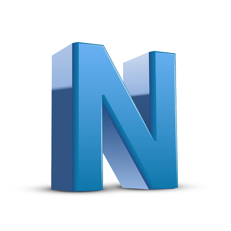 3d image: 3D image blue letter N isolated on white background