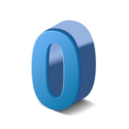 3D image shiny blue number 0 isolated on white background Illustration
