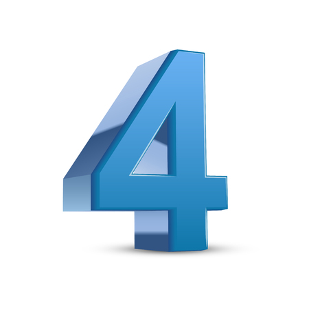 number 4: 3D image shiny blue number 4 isolated on white background