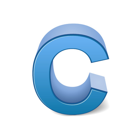3d image: 3D image blue letter C isolated on white background