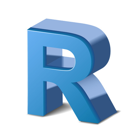 r image: 3D image blue letter R isolated on white background