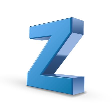 letter z: 3D image blue letter Z isolated on white background