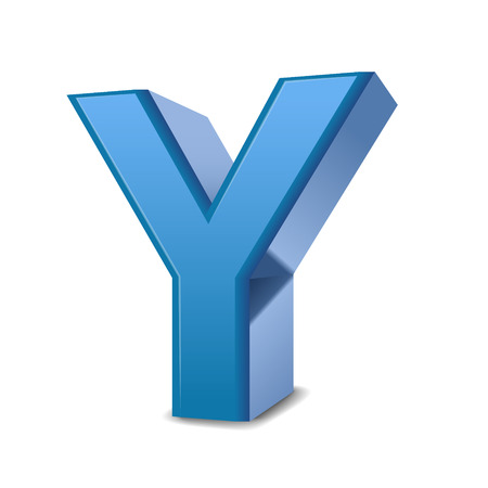 3D image blue letter Y isolated on white background
