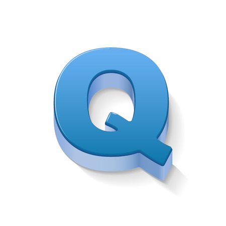 3D image blue letter Q isolated on white background