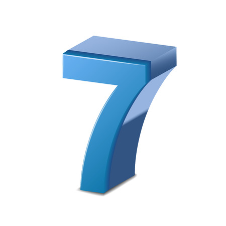 3d image: 3D image shiny blue number 7 isolated on white background