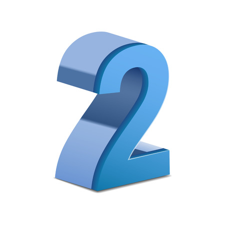 number 2: 3D image shiny blue number 2 isolated on white background