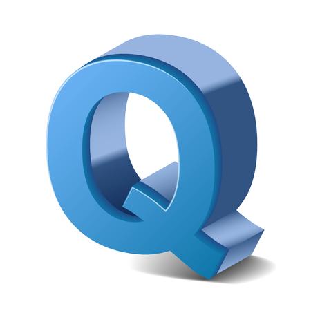 letter q: 3D image blue letter Q isolated on white background
