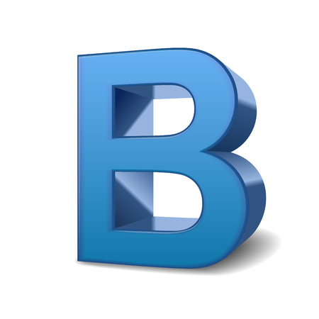 3d image: 3D image blue letter B isolated on white background