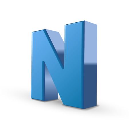 single word: 3D image blue letter N isolated on white background