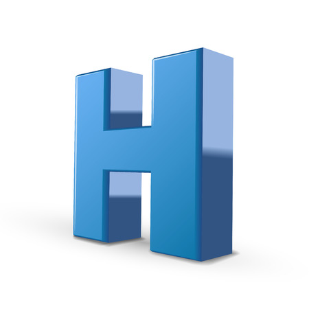 3d image: 3D image blue letter H isolated on white background