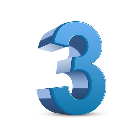 number 3: 3D image shiny blue number 3 isolated on white background