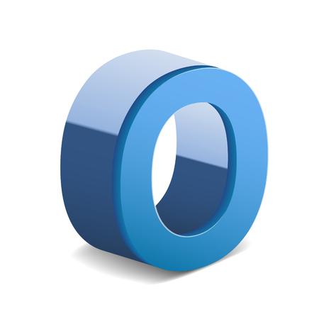 image 3D lettre bleu O isolé sur fond blanc