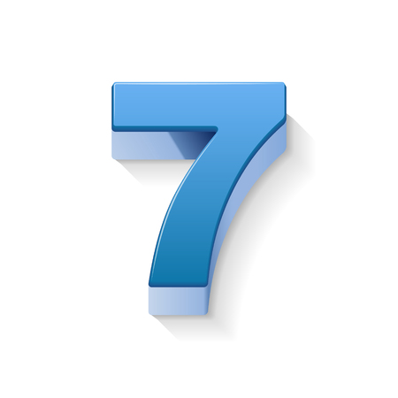 number 7: 3D image shiny blue number 7 isolated on white background