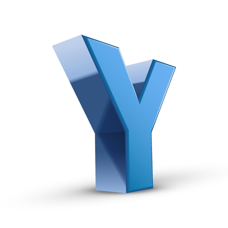 3d image: 3D image blue letter Y isolated on white background