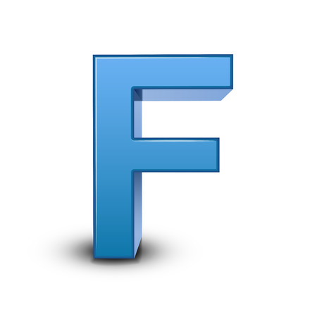 3d image: 3D image blue letter F isolated on white background Illustration