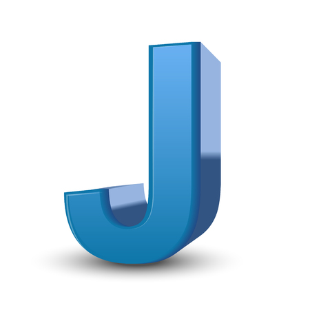 3d image: 3D image blue letter J isolated on white background