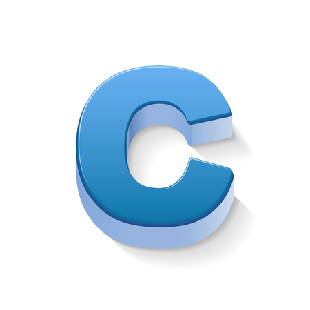 3D image blue letter C isolated on white background
