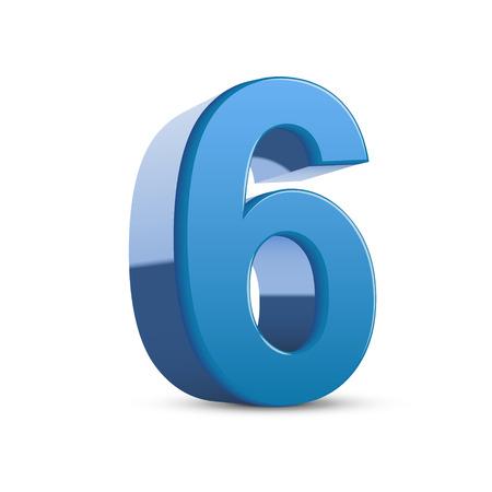number 6: 3D image shiny blue number 6 isolated on white background Illustration